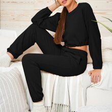 Crop Pullover mit Kordelzug am Saum & Jogginghose Set