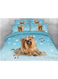 Pet Dog Warm Soft Duvet Cover Set 4-Piece 3D Animal Bedding Set
