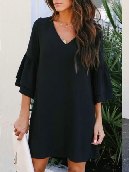 Yoins Black V-neck Ruffle sleeves Mini Dress