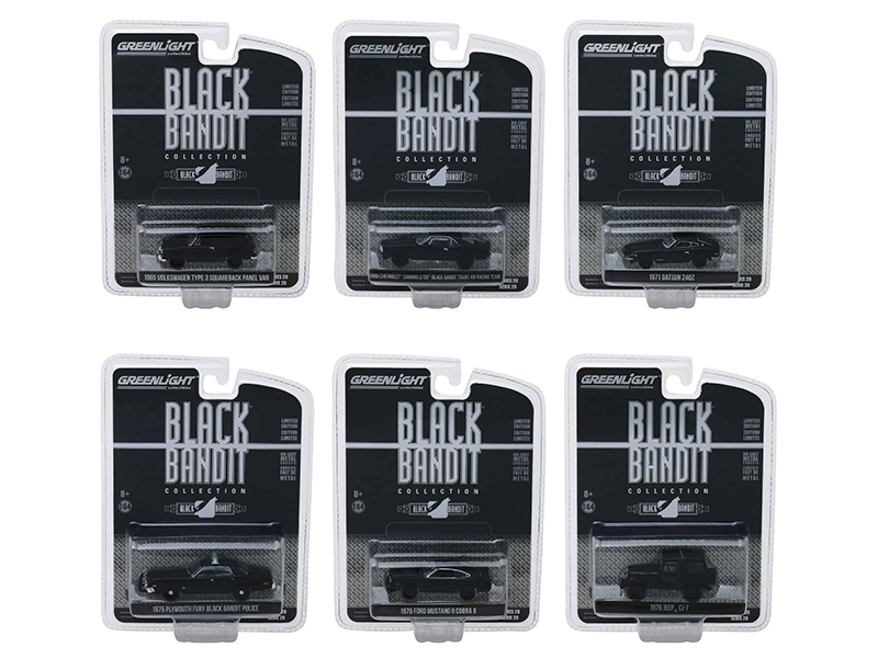 Black Bandit Series 20 Set of 6 Cars 1/64 Diecast Models by Greenlight