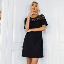 Guipure Lace Shoulder Dress