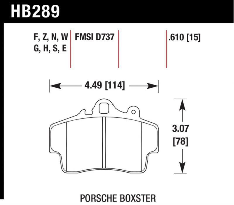 Hawk Performance HB289N.610 Disc Brake Pad Porsche Front