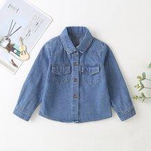 Toddler Girls Flap Pocket Button Up Denim Jacket