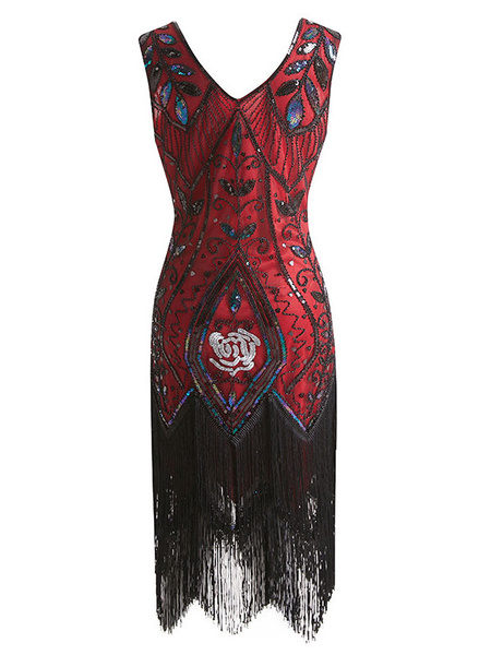 Milanoo Disfraz Halloween Vestidos años 20 Negro rojo Charleston disfraz fibra de poliester Disfraces Retro de poliester para baile para adultos con v