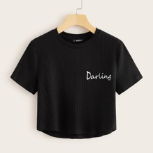 Letter Graphic Rib-knit Crop Tee