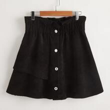 Falda de pana con boton delantero de cintura con volante