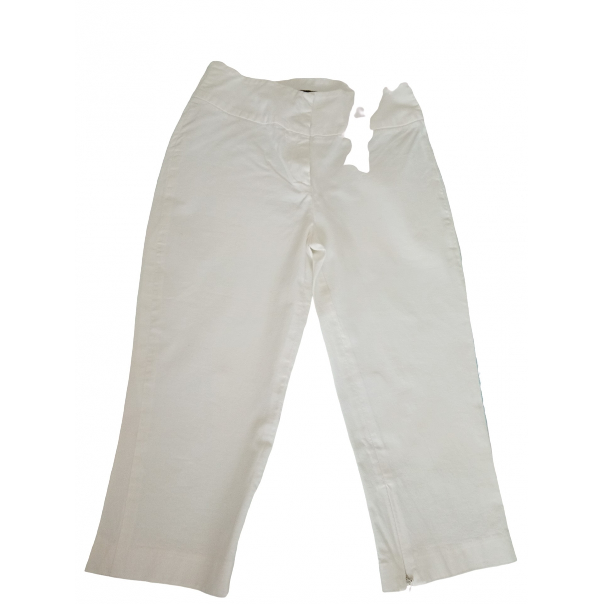 D&g \N White Cotton Trousers for Women 38 IT