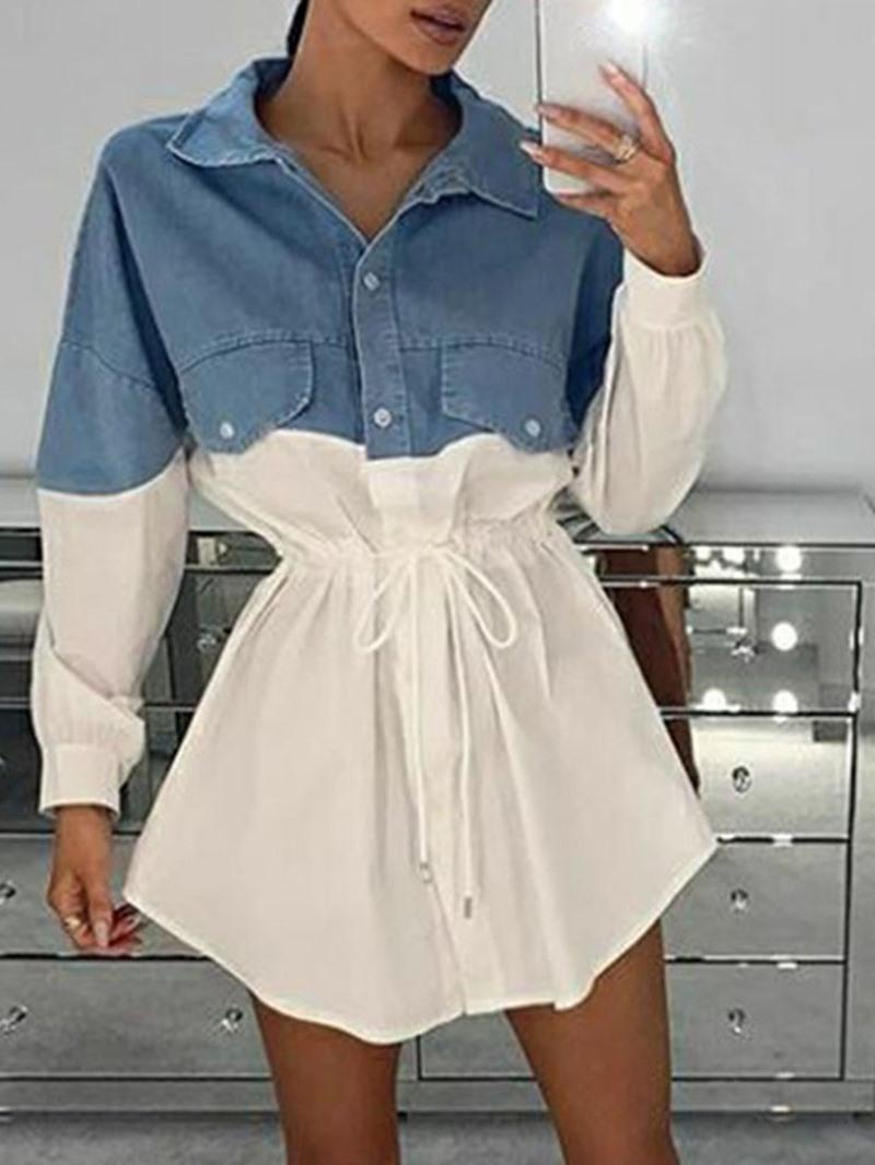 Ericdress Pocket Lapel Above Knee Casual Summer Dress