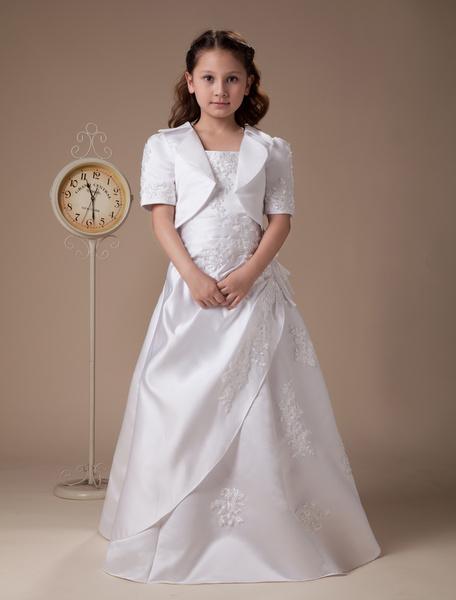Milanoo Vestido de niña de flores blanco de saten de linea A hasta el suelo