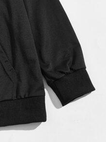 Men Contrast Panel Raglan Sleeve Hoodie & Sweatpants