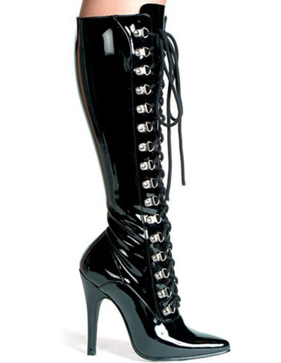 Milanoo Black 4 1/10 High Heel Lace-Up Patent Leather Womens Sexy Boots