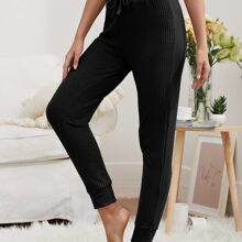 Waffle Knit Tie Front Solid Lounge Pants