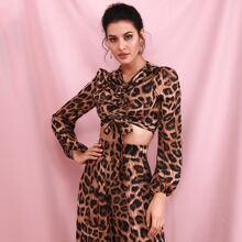 Reissverschluss  Leopardenmuster  Elegant Blusen