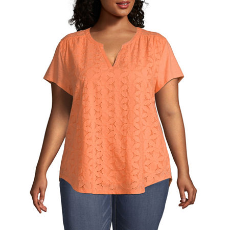 St. John's Bay Plus-Womens Split Crew Neck Short Sleeve T-Shirt, 0x , Orange