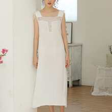 Contrast Lace Drawstring Shoulder Night Dress
