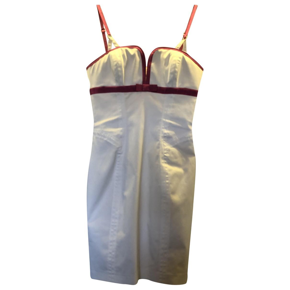 Dsquared2 \N Kleid in  Weiss Baumwolle - Elasthan