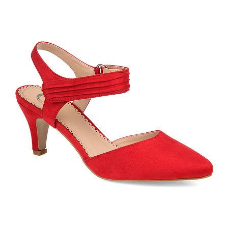 Journee Collection Womens Joni Pumps Block Heel, 8 1/2 Medium, Red
