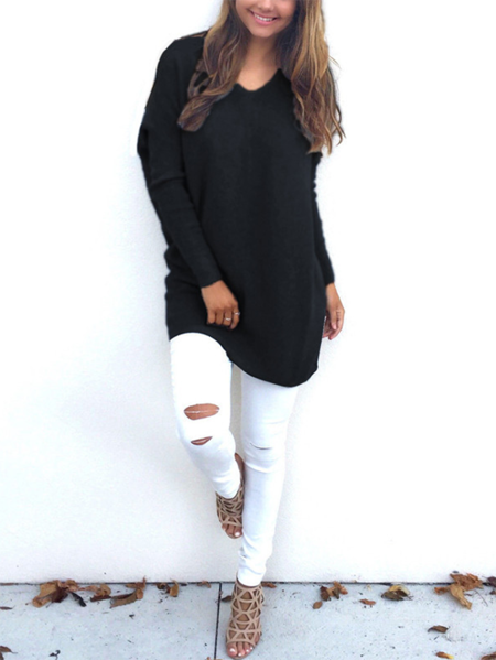 Yoins V-neck Long Sleeves Tee