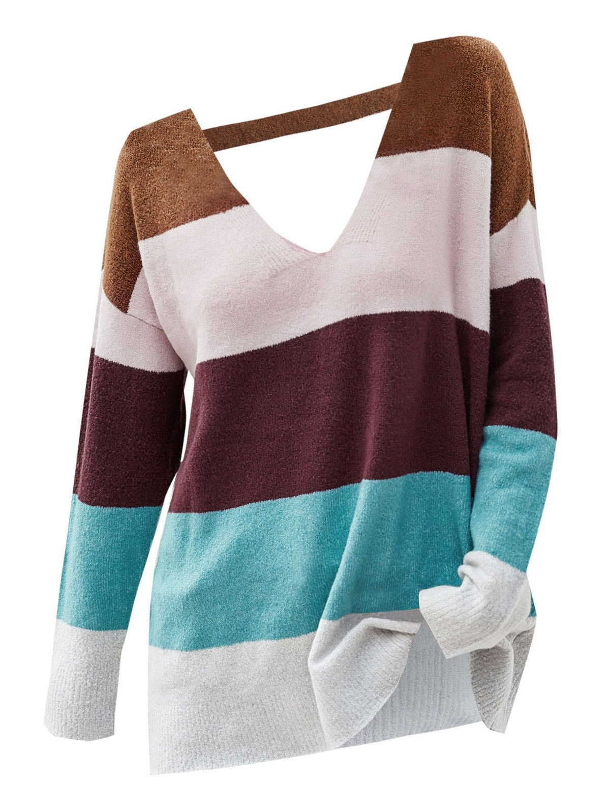 Colorblock V Neck Cutout Sweater