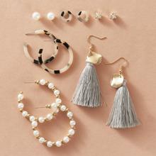 Set de pendientes con diseño de fleco con perla artificial 6 pares