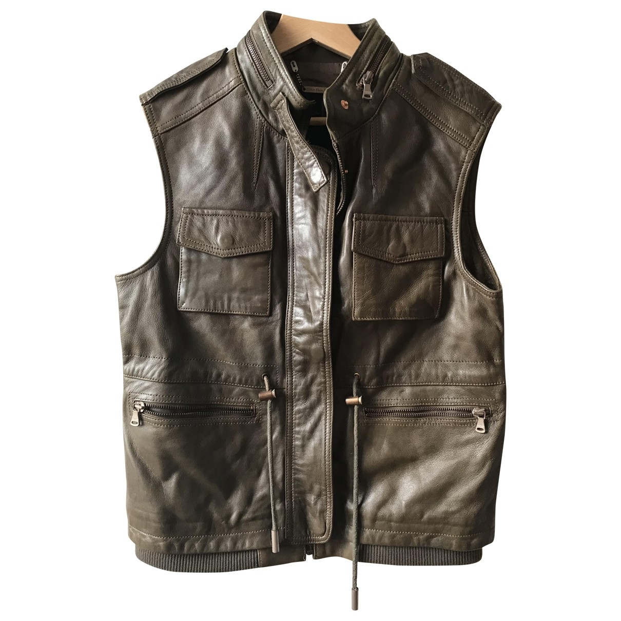 Calvin Klein \N Khaki Leather jacket for Women 36 FR