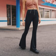 Solid High-Rise Flare Leg Pants