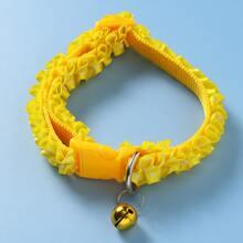 1pc Frill Trim Bell Charm Dog Collar