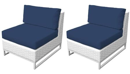 Miami TKC047b-AS-DB-NAVY Set of 2 Armless Chairs - Sail White and Navy