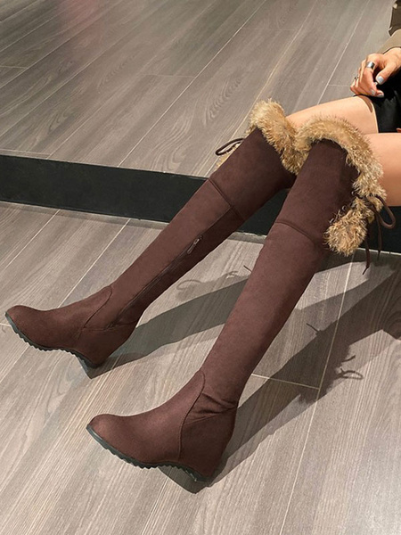 Milanoo Lolita Boots Faux Fur Hidden Heel Round Toe Lolita Footwear