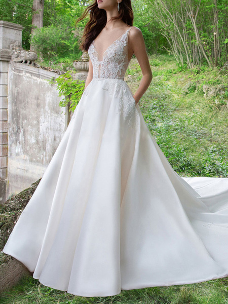 Milanoo Vintage Wedding Dress V Neck Sleeveless A Line Lace Satin Bridal Gowns With Train