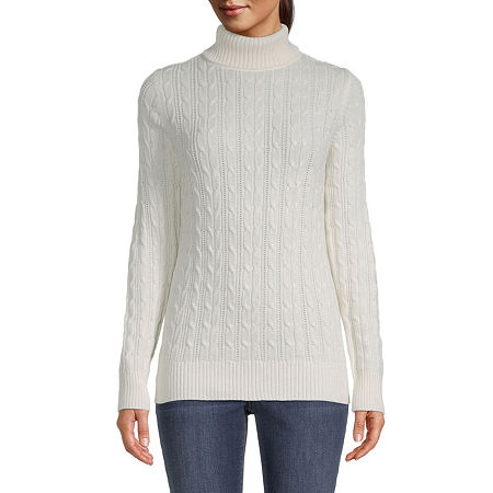 St. John's Bay Cable Womens Turtleneck Long Sleeve Pullover Sweater, Petite Large , White
