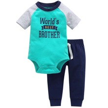 Baby Boy Letter Graphic Raglan Sleeve Bodysuit & Sweatpants