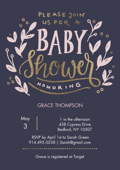 Baby Shower Invitations Flat Glossy Photo Paper Cards with Envelopes, 5x7, Card & Stationery -Baby Shower Sweet Floral