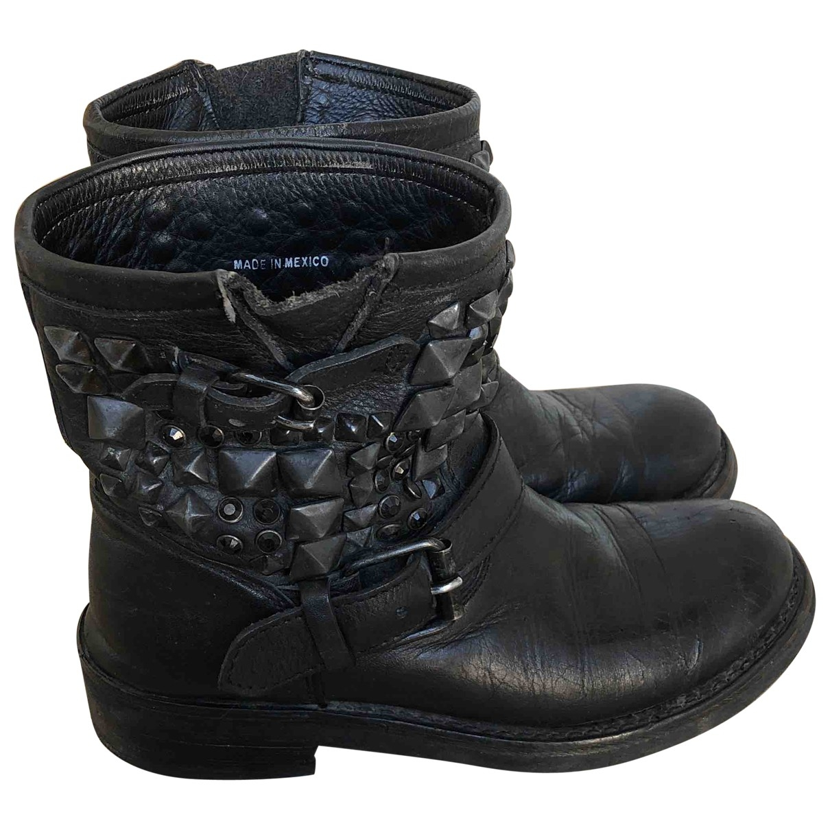 Ash - Bottes   pour femme en cuir - noir