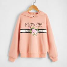 Girls Letter and Floral Print Hoodie