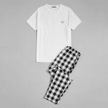 Schlafanzug Set mit Diamant und Karo Muster