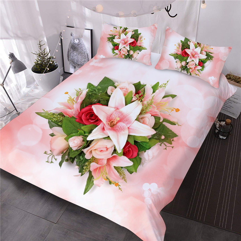 3D colorful Bouquets of Aromatic Pink Lilies 3-Piece Soft Warm Lightweight Microfiber Floral Comforter Sets for All Seasons
