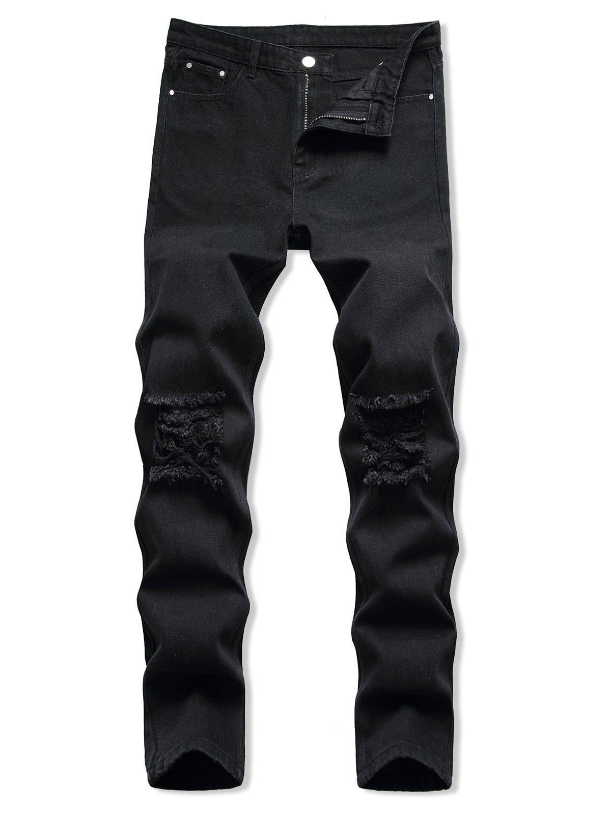 Dark Wash Ripped Zipper Fly Tapered Jeans