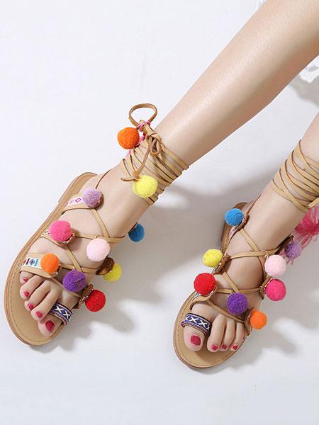 Milanoo Sandalias Gladiator de mujer 2020 Boho sandalias planas color marron con Pom Poms