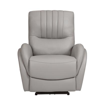 A738U-004-1747 Channel Tufted Leather Power Recliner with Lumbar Support in