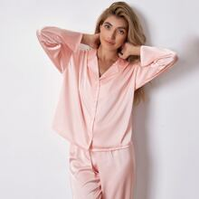 Solid Button Front Satin Pajama Set
