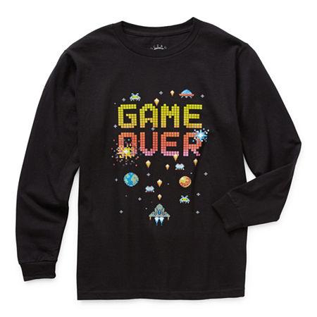 Ocean Current Little & Big Boys Crew Neck Long Sleeve Graphic T-Shirt, Medium , Black