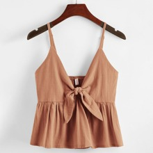Solid Knot Front Peplum Cami