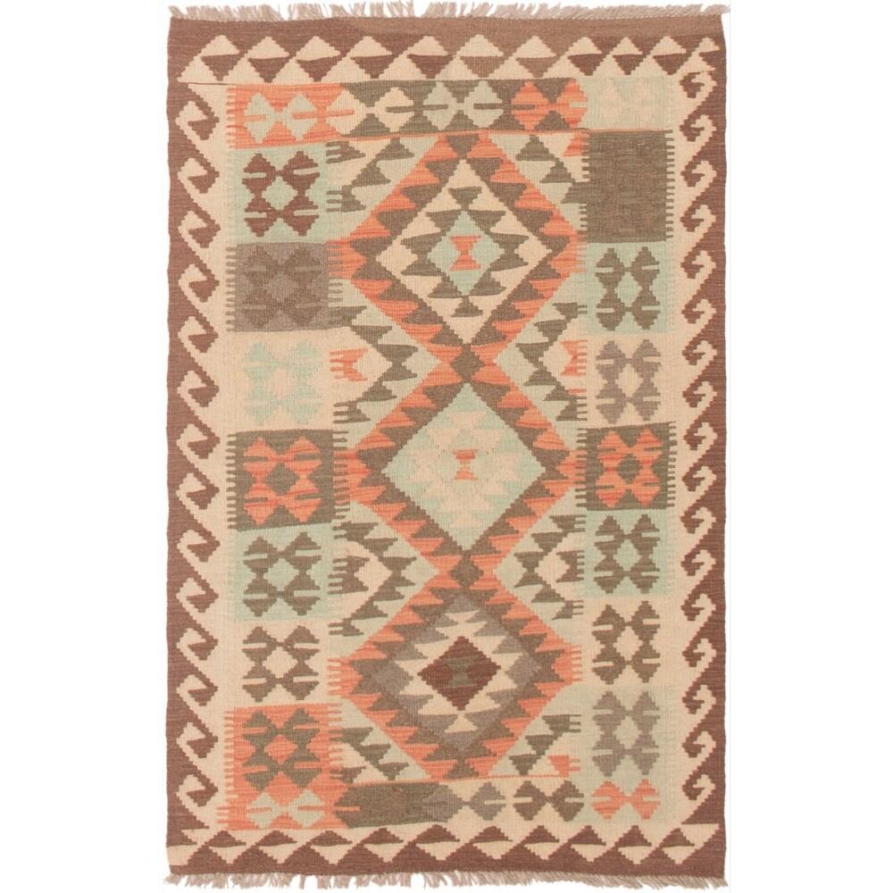 ECARPETGALLERY Flat-weave Istanbul Yama FW Light Khaki Wool Kilim - 3'2 x 4'11 (Light Khaki - 3'2 x 4'11)