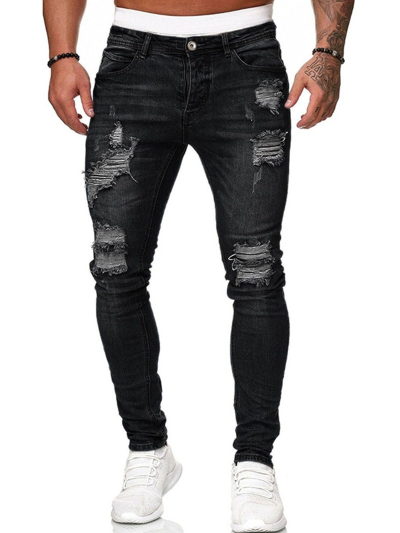 Ericdress Men's Pencil Pants Worn Korean Mid Waist Jeans