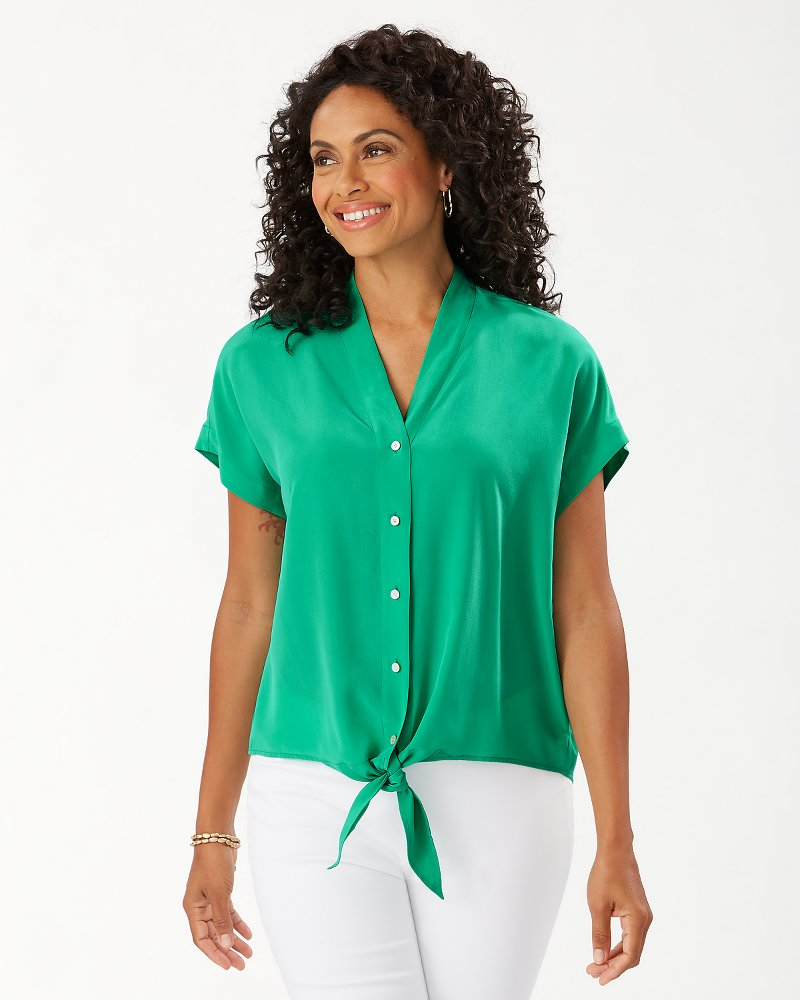 Tove Tie-Front Silk Shirt