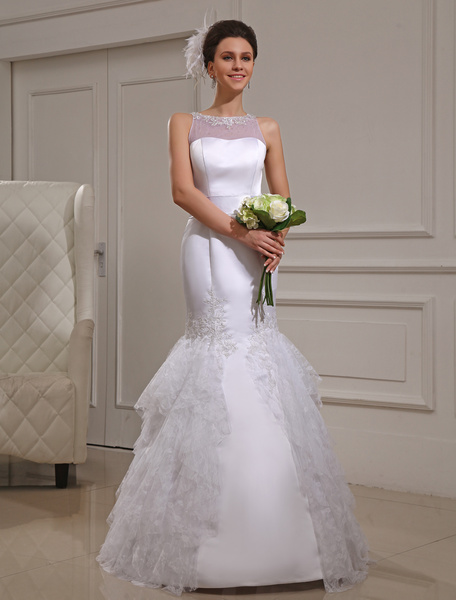 Milanoo White Mermaid Lace Satin Bridal Wedding Gown
