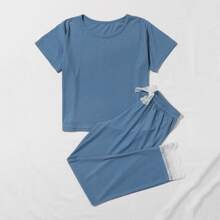 Girls Contrast Lace Knot Detail Ribbed PJ Set