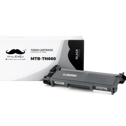 compatible Brother TN-660 cartouche de toner noire à haut rendement de marque Moustache, 1paquet