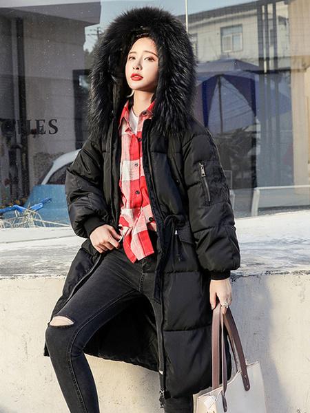 Milanoo Mujeres Puffer abrigo cuello de piel sintetica Bubble Coat cordon de algodon relleno con capucha abrigo de invierno